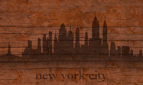 new york woodworking new york city skyline silhouette distressed on worn