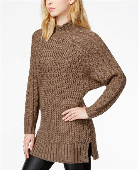 cable knit tunic sweater guess cable knit tunic sweater lyst