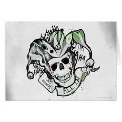 squad joker skull quot all in quot tattoo art card