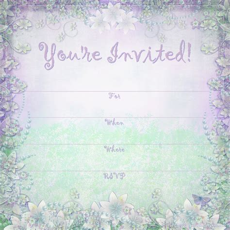free printable party invitations enchanted garden summer