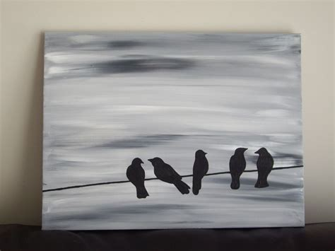 acrylic painting ideas black and white bird silhouette acrylic painting on canvas grey black