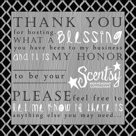hosting a thank you for hosting a scentsy what a blessing you