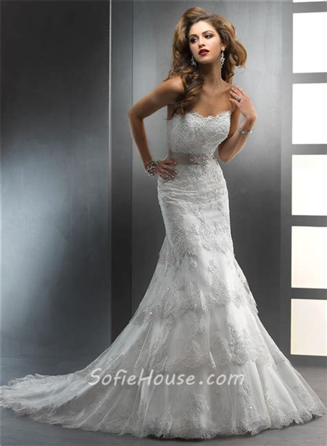 beaded lace wedding dresses gorgeous trumpet mermaid strapless tiered beaded lace