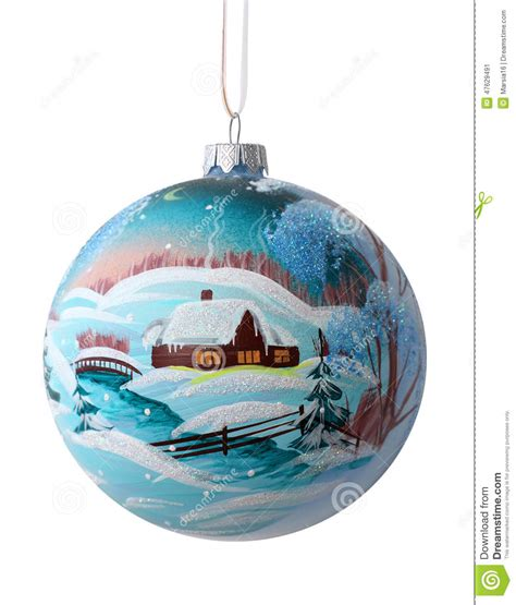 christmas ball with drawing rustic winter landscape stock