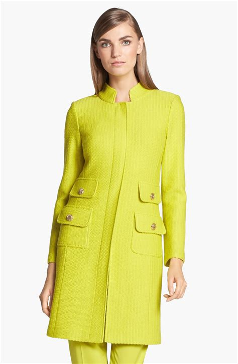 st knit jacket st dash stripe knit jacket in yellow chartreuse lyst