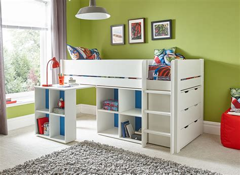 cabin bed with desk tinsley midsleeper with storage desk and chest of drawers