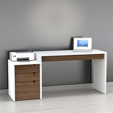 white modern office desk to it nexera liber t computer desk with filing cabinet white and espresso 349 99
