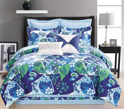 paisley bed sets 8 paisley blue green white comforter set