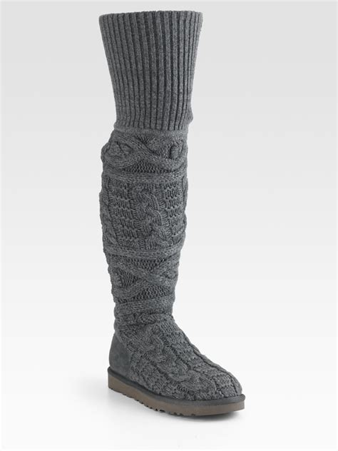 cable knit boots ugg cable knit and suede the knee boots in gray