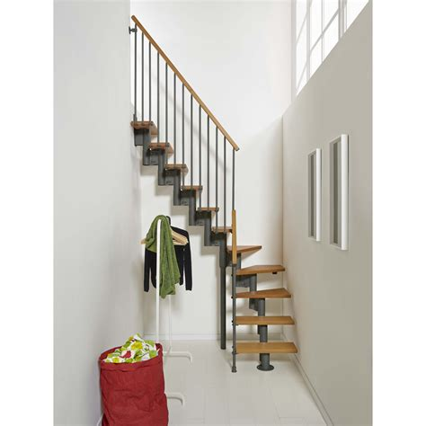 escalier modulaire strong marches bois structure m 233 tal gris leroy merlin