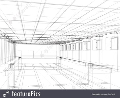 picture of 3d sketch of an interior of a public building