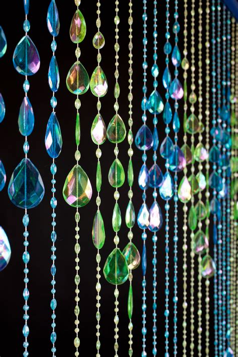 large beaded curtains beaded curtains big teardrops neon blue lime blue and