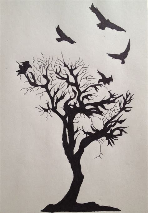 crow and tree tattoo by skinnercody on deviantart