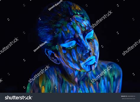 neon paint india glowing ultraviolet light creative stock photo