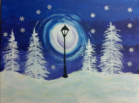 acrylic painting winter a gorgeous and easy snowy landscape for learning
