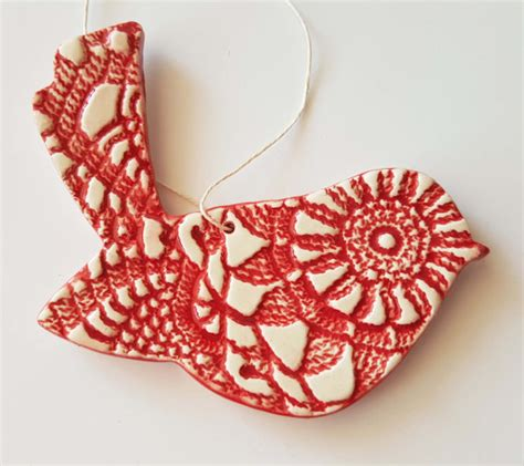 order ornaments clay bird ornament made to order textured bird ornament