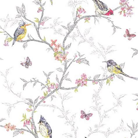 shabby chic bedroom wallpaper birds and branches shabby chic wallpaper white the