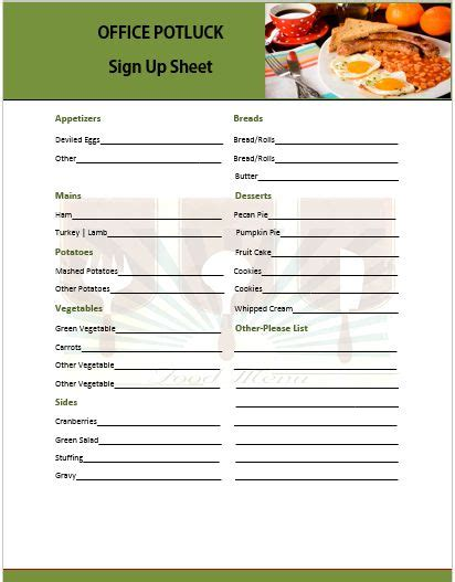 ideas stin up 13 stylish office potluck signup sheets for your next