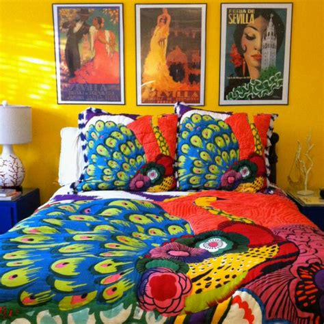 paint color for quilt room bohemian color bold bedroom peacock feathers bedding