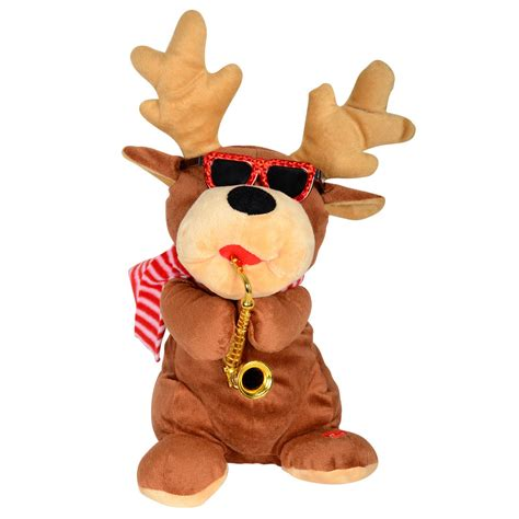 animated singing reindeer animated musical plush reindeer with saxophone