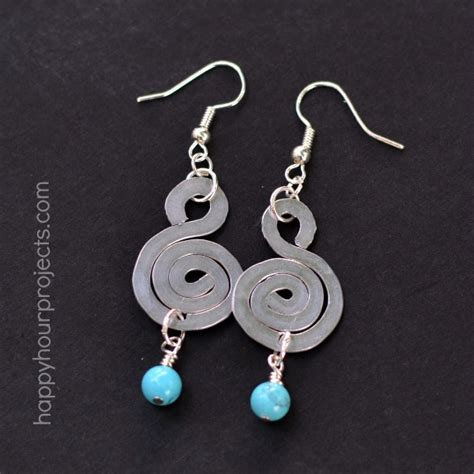 how to make hammered jewelry spiral hammered wire earrings happy hour projects