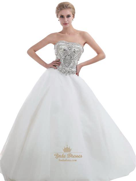 heavily beaded wedding dress ivory strapless heavily beaded bodice chapel tulle