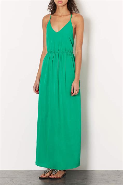 green beaded dress topshop green beaded back maxi dress in green lyst