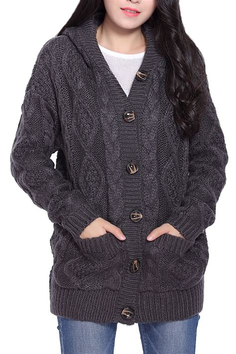 Button Up Cable Knit Hooded Cardigan In Gray