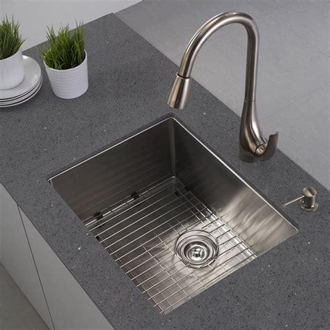 kitchen sink undermount kraus khu101 23 handmade 16 single basin undermount