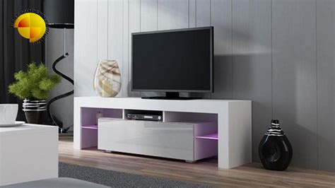 tv furniture modern modern tv stand 160cm high gloss cabinet rgb led lights