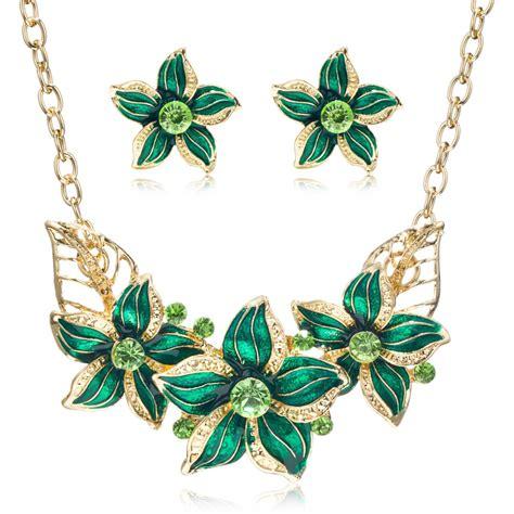 Cz Rhinestone Enamel Flowers Jewelry Sets Gold Plating