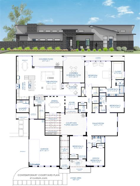 and house plans contemporary courtyard house plan 61custom modern house plans