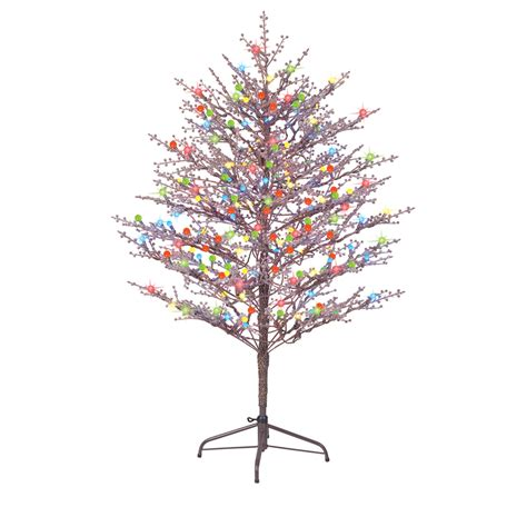 pre lit outdoor tree shop ge 5 ft indoor outdoor pre lit winterberry brown
