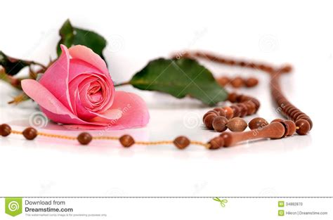 rosary made from roses muslim rosary and pink on a white background stock