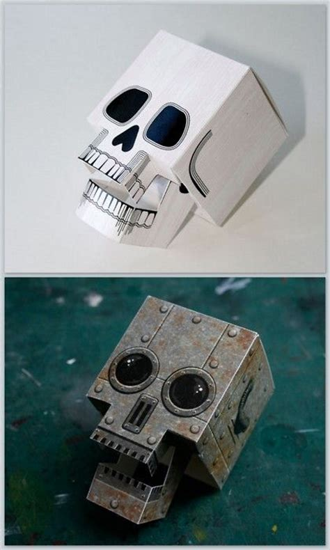 paper craft skull free pdf downloads diy papercraft skull with articulated