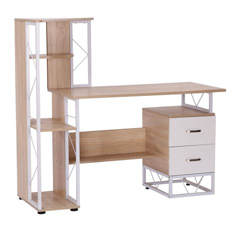 multi computer desk homcom multi shelves computer desk oak white aosom ca