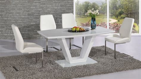 white modern dining room sets modern white high gloss glass dining table and 6 chairs
