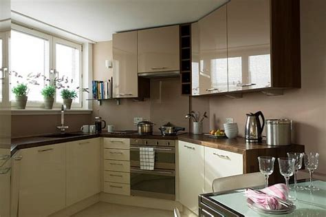 kitchen cabinets for small spaces glossy cafe au lait cabinets in small space kitchen