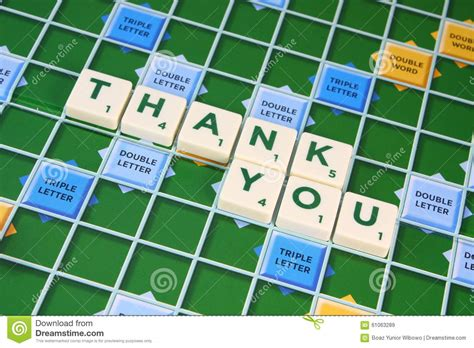 is el a word in scrabble scrabble thank you stock photo image 61063289