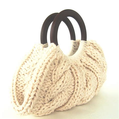 knitted bags cable knit purse with wooden handles