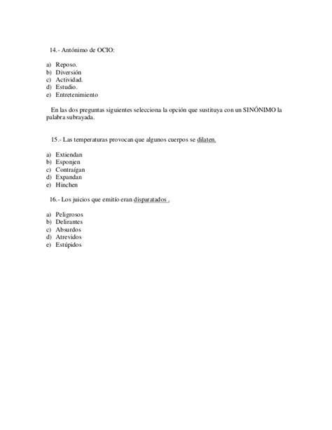 vanidad antonimo examen tipo 10 comipems