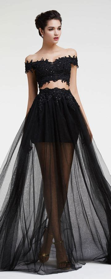 beaded two prom dress sparkly black lace beaded two prom dresses