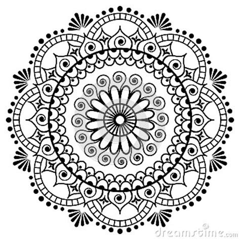 mehndi mandala flower in indian henna style for tatoo or