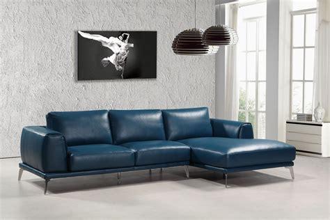 leather blue sofa divani casa drancy modern blue bonded leather sectional sofa