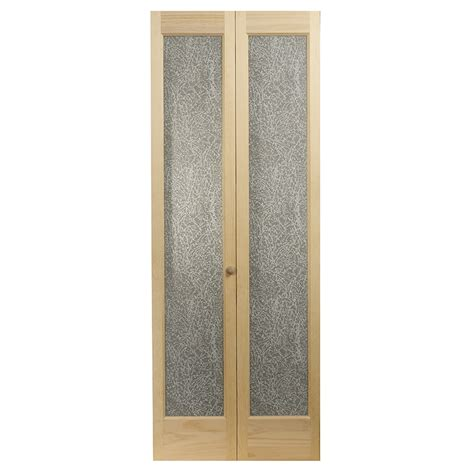 solid bifold closet doors shop pinecroft 1 lite solid pine bifold closet door