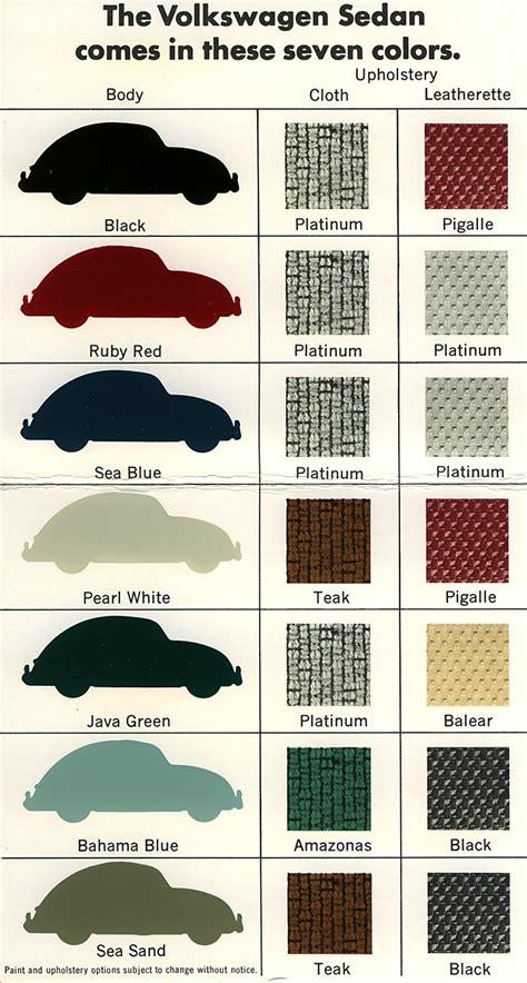 original paint colors vw vintage volkswagen bug original paint and interior colors
