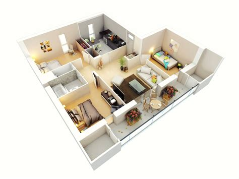 3 bedroom plan free 3 bedrooms house design and lay out