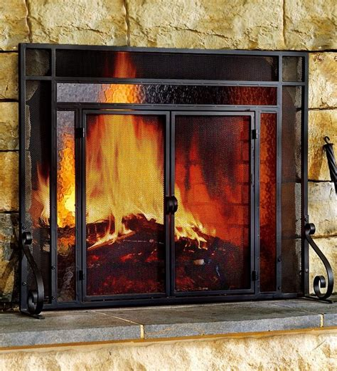glass fireplace screens with doors 2 door steel fireplace screen w tempered glass accents