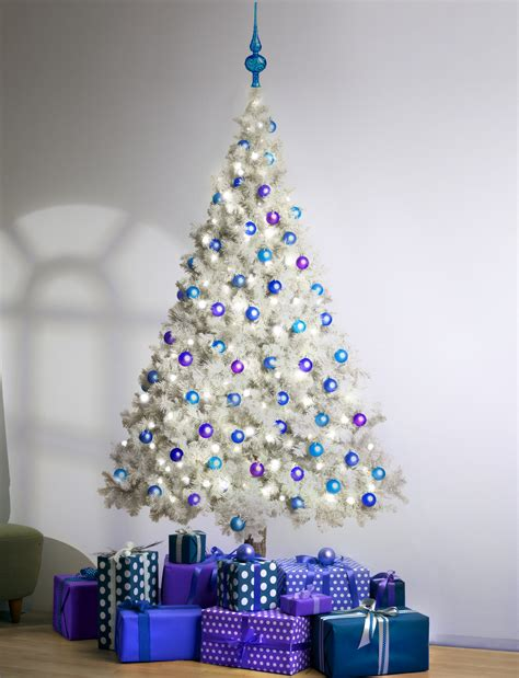 white tree with blue lights white tree with blue lights happy holidays