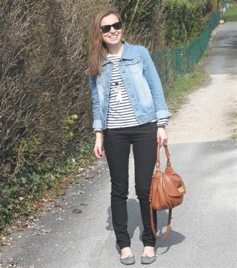 comment porter veste en jean mariniere lunettes rayban mode quotidien de maman 233 colo